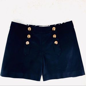 Milly NY Black Nautical Sailor Gold Button Shorts